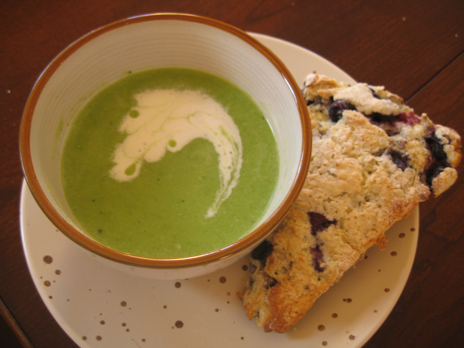 Green Pea Soup and Blueberry Scones