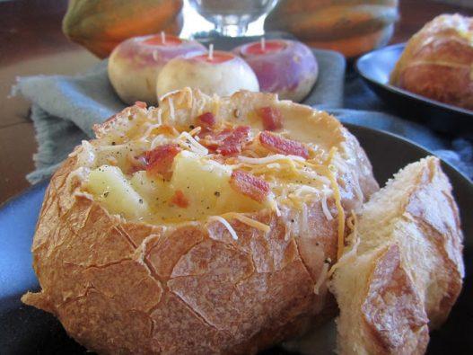 Pated Potato Soup in Bread Bowl