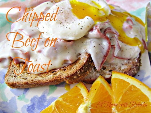 Creamed Chipped Beef on Toast is an easy, budget friendly meal. Dried beef covered with a rich, thick pan gravy, served on buttered toast with eggs makes this dish pure comfort food!