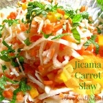 Jicama carrot and mango slaw is full of bright flavor and color! This delicious slaw recipe makes the perfect side dish, or add protein to make a complete meal.