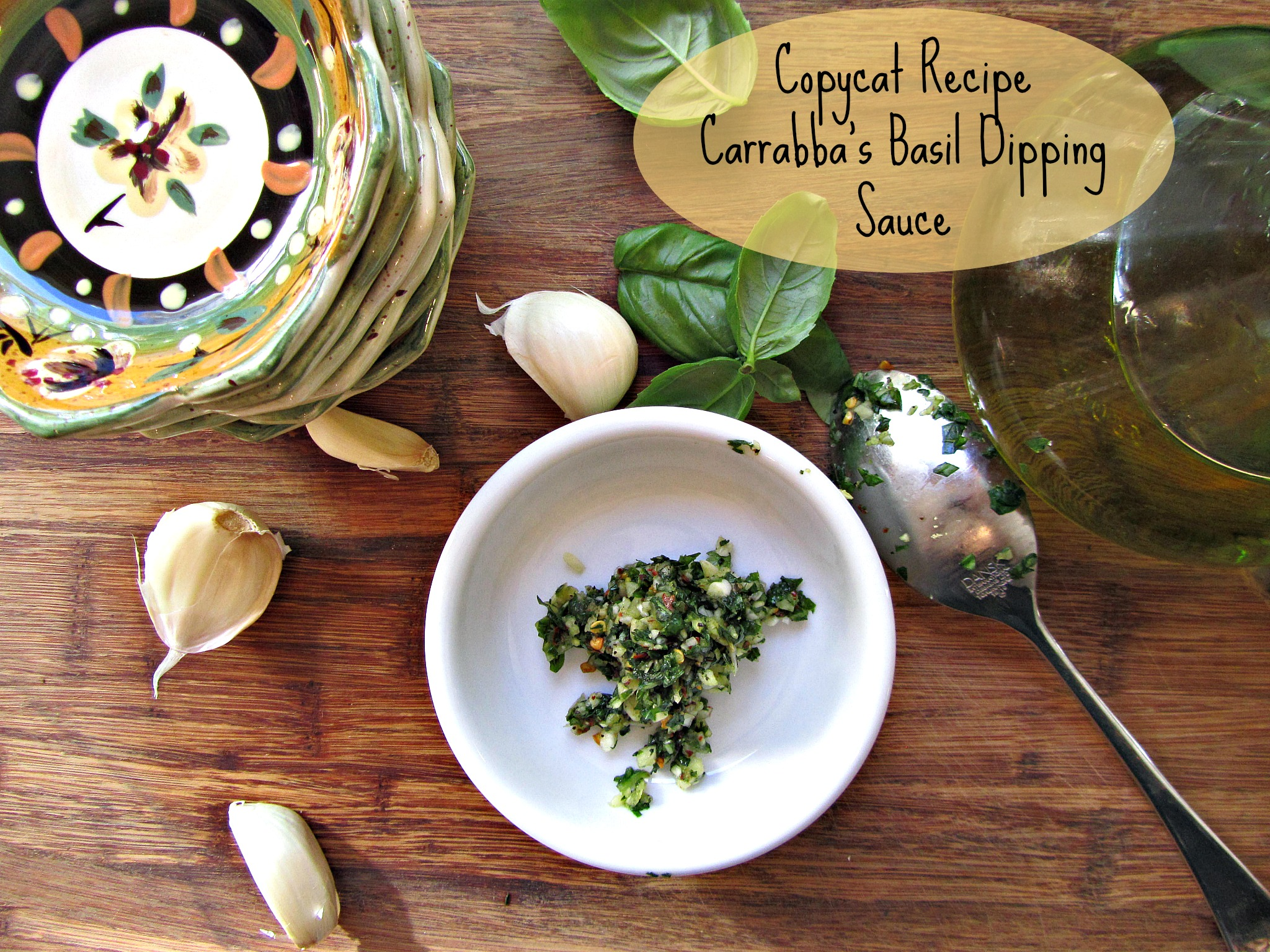 Garlic, Basil Dipping Sauce