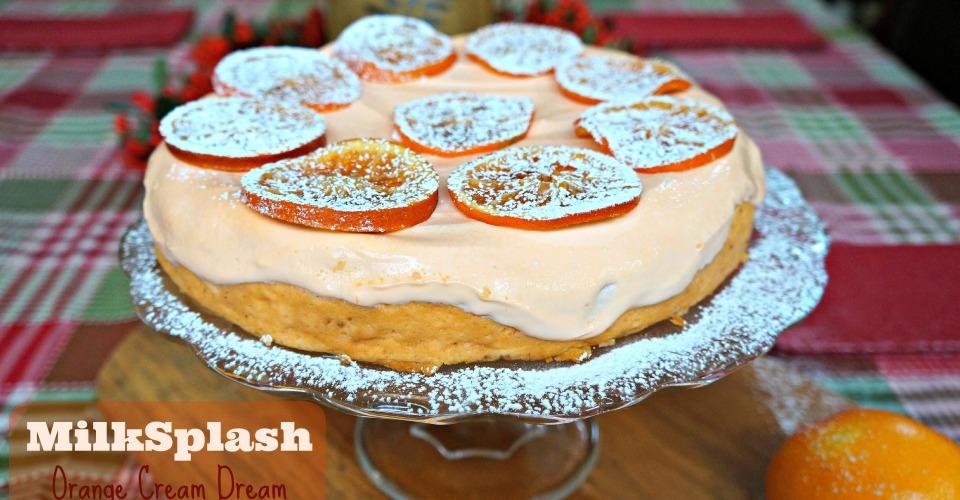 MilkSplash 'Orange Cream Dream' Cheesecake with Candied Orange Slices #FoodTasticFriday #MilkSplashRecipe #TwitterParty