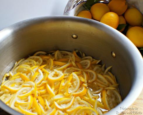 steeping lemon peels to make lemon marmalade