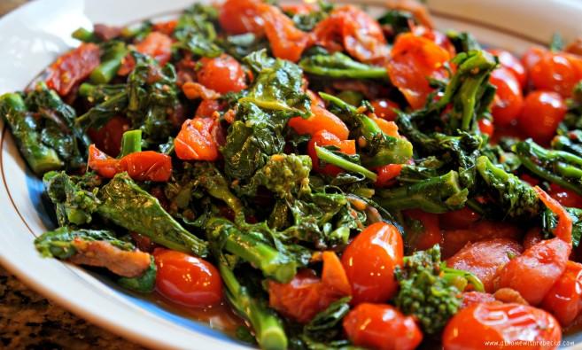 broccoli rabe and sugar plum tomato saute