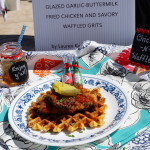 Glazed Garlic-Buttermilk Fried Chicken and Savory Waffled-Grits