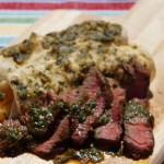 Chipotle Cilantro Chimichurri Steak on Enchiladas with Roasted Salsa Verde