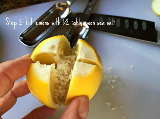 Step 2 in making preserved Meyer lemons