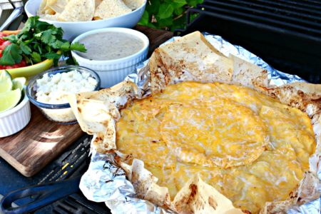 Campground Skillet Mexican Lasagna with Creamy Salsa in pan