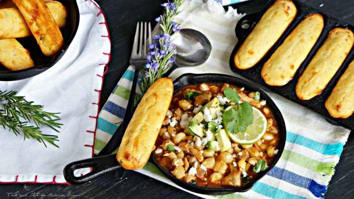 Southwestern Posole Stew with Jalapeno Cheddar Corn Sticks