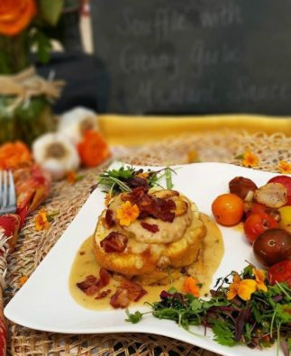 Garlic Goat Cheese Bacon Soufflé Rebecka Evans