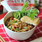 Pork and Pepper Udon Soup with Sesame Rice Sticks