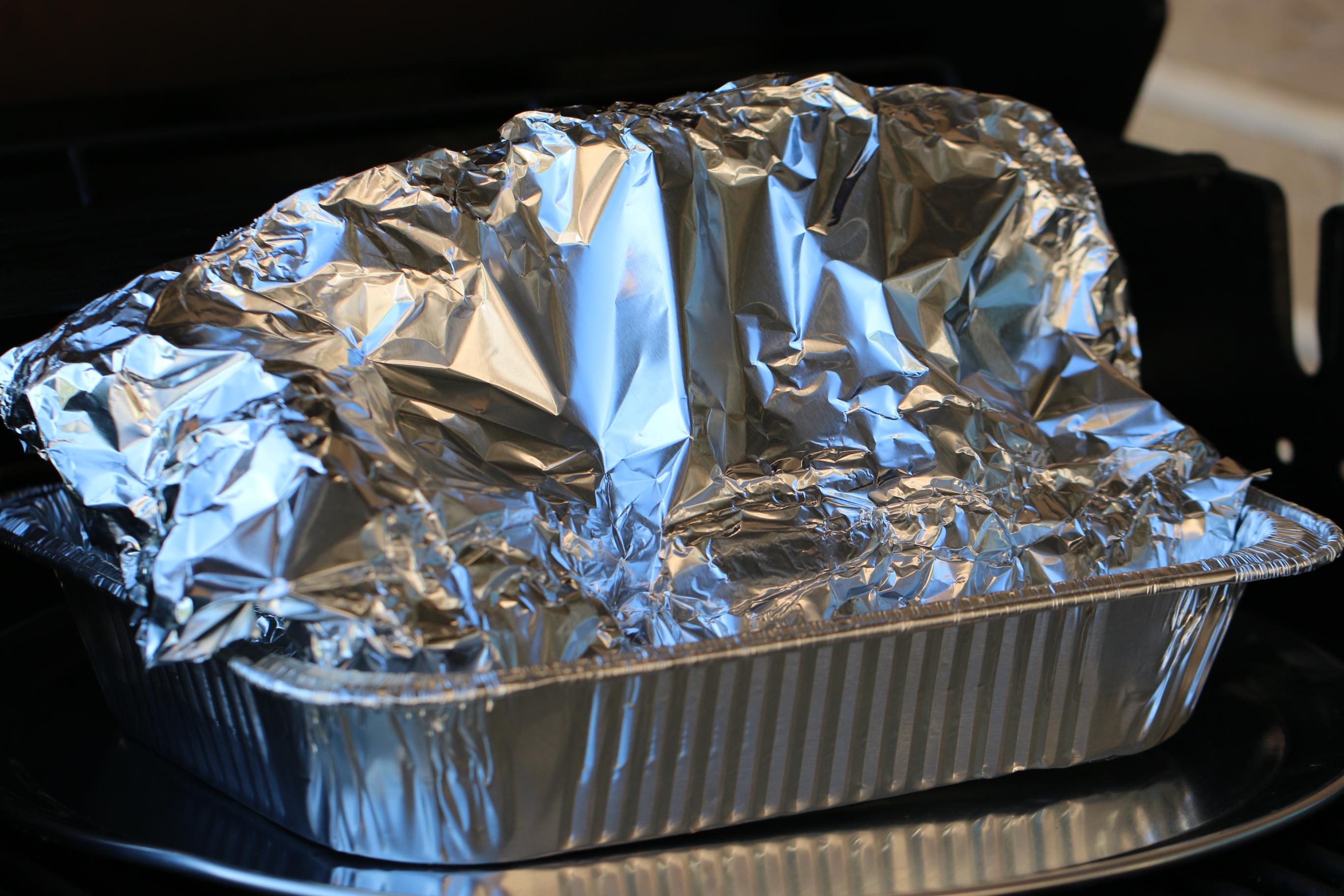 ham in foil roasting pan