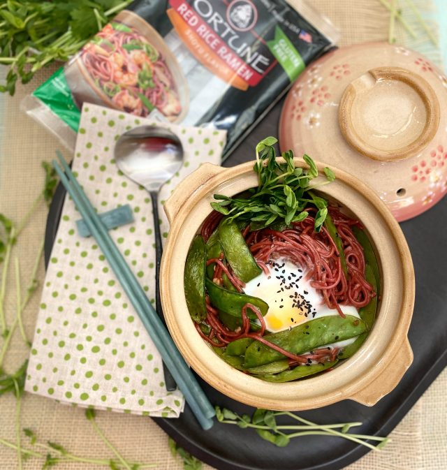 Red Rice Ramen Stir Fry Snow Peas and Pea Shoots