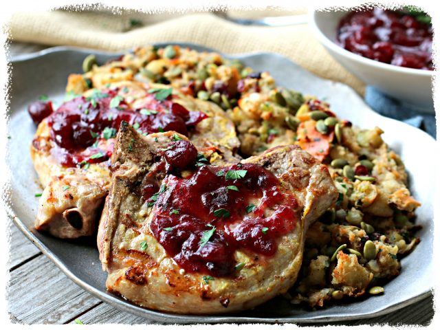 Grilled Pork Chop with Cranberry Sauce