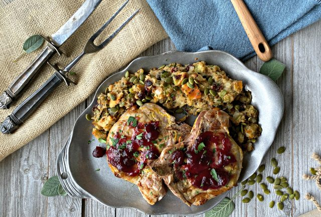 Grilled Pork Chops with Sage Stuffing and Hot Cranberry Sauce