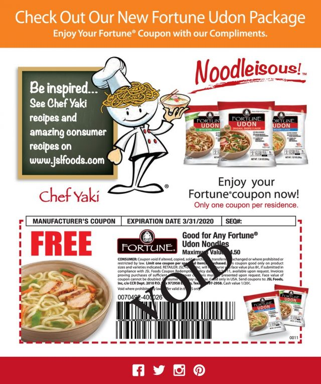 Coupon Fortune Noodle Company FREE