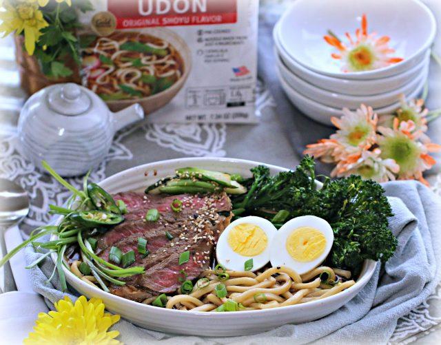 Shoyu Steak and Egg Udon with Ginger Chili Broccolini