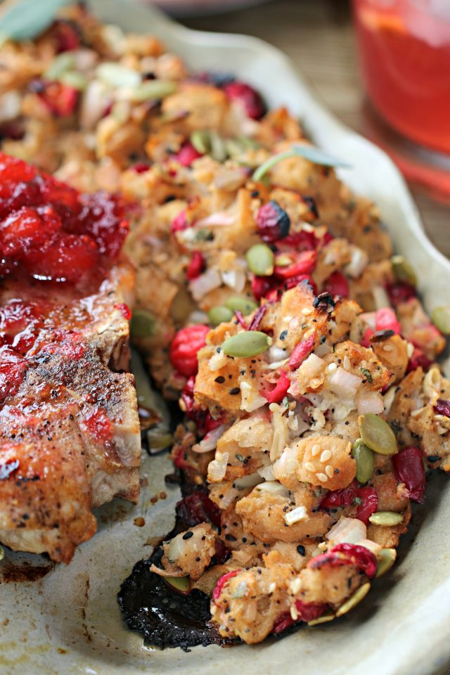 Grilled Cranberry Pork Chops with Everything Bagel Cranberry stuffing