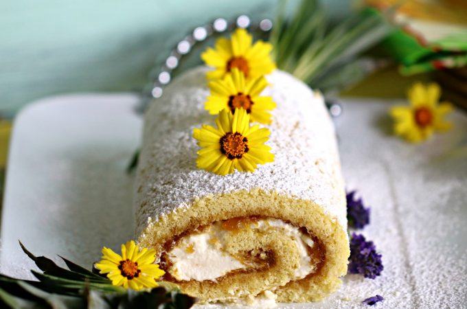 """The """"Upside-Down"""" Filled Jelly Roll Cake"""