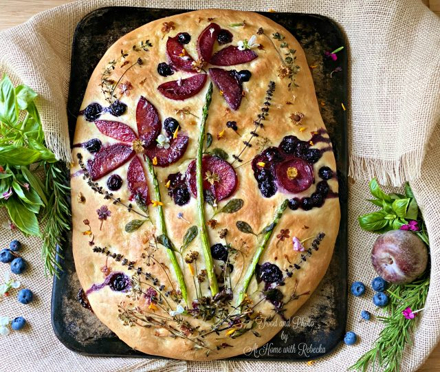 Plumcot Herb Flower Focaccia Art Bread