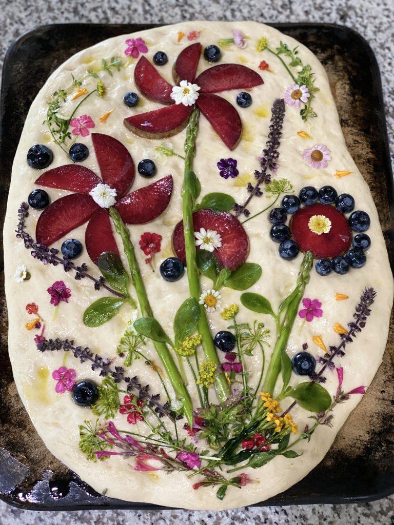 Plumcot Art Focaccia Bread