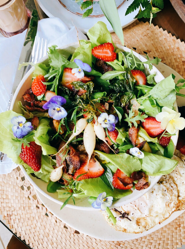 Fresh Garden Salad with Hot Bacon Dressing